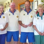 Kidman Fours runners up Chris Joan John Garrywith Wilma & Brian